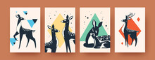 Cute Deer Collection Contemporary Art Posters Leaflets With Mammals Illustrations Forest Animals Wildlife Concept
