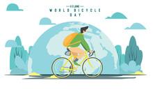 Flat Design World Bicycle Day Illustration
