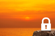 Key Flat Icon On Rock Mountain Over Sunset Sky And Sea, Business Security Concept