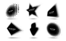 Halftone Circle Dots Perspective Logo Emblem Design Element For Technology, Medical, Treatment, Cosmetic. Set Half Tone Frame Banners. Vector Illustration.
