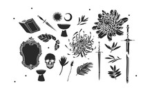 Hand Drawn Vector Abstract Stock Flat Graphic Illustrations Mystic Icons Collection Set With Logo Elements,magic Sacred Boho Moon,stars,sun,flowers And Leaves Silhouettes Isolated On White Background