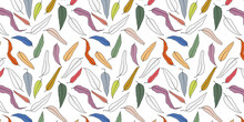 Autumn Vintage Leaf Colorful Line Art Seamless Pattern Background. Greate For Textile Print, Fabric, Wallpaper, Giftwrap Or Packaging, Scrapbooking And Bookcover. Surface Pattern Design.