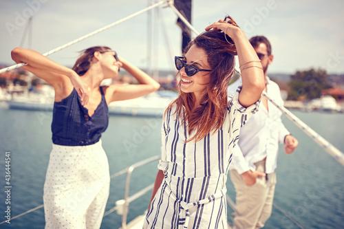 Modern rich friends cruising together #436444541