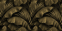Tropical Exotic Seamless Pattern. Grunge Golden Banana Leaves, Palm. Hand-drawn Dark Vintage 3D Illustration. Nature Abstract Background Design. Good For Luxury Wallpapers, Cloth, Fabric Printing.