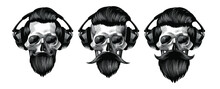 Set Of Skulls With Headphones. Male Skulls With A Beard And Mustache. Vector Illustration