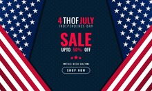 4th Of July Independence Day Background Sales Promotion Advertising Banner Template With American Flag Design