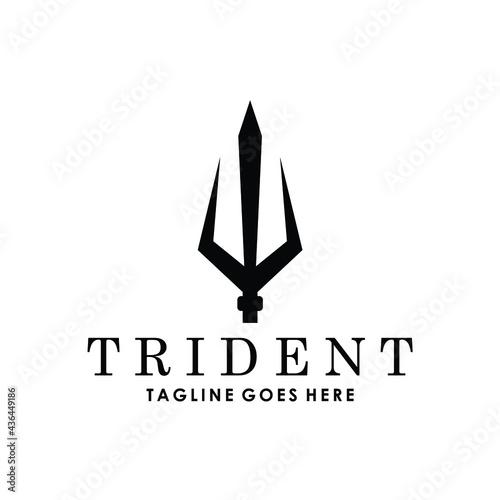 Obraz na płótnie geometric trident poseidon neptune triton king of water logo design