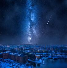 Milky Way Over Opera In Bydgoszcz In Winter, Poland.