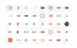 set of arrow icons, objects, direction