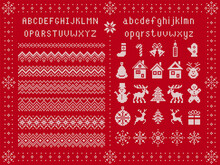 Christmas Font And Xmas Elements. Vector. Knit Seamless Borders. Sweater Pattern. Fairisle Ornament With Type, Snowflake, Deer, Bell, Tree, Snowman, Gift Box. Knitted Print. Red Textured Illustration