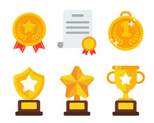 Vector Trophies And Medals Of Victory For Sports Champions Success Concept