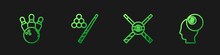 Set Line Crossed Billiard Cues And Ball, Bowling Pin, Billiard And . Gradient Color Icons. Vector