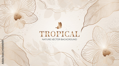Abstract trendy artistic background templates. Luxury minimal style wallpaper with golden line art flower and botanical tropical leaves. Horizontal vector design for banner, poster, invitation