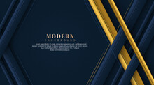 Modern Dark Blue And Golden Color Geometric Overlap Pattern On Dark Background. Abstract Trendy Color Square Shape With Copy Space. Luxury And Elegant Concept For Website, Poster, Banner, Brochure