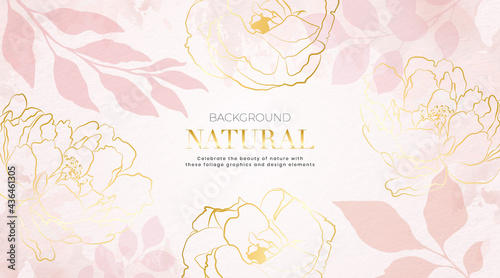 Minimal nature texture with flowers and tropical leaf. Abstract art background pink vector. Luxury minimal style wallpaper with golden line art flower. Design hand drawn with pastel colors