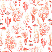 Pattern With Red Corals And Fishes, Seamless Colorful Texture Coral Reef On White Background, Watercolor Marine Illustration, Wildlife Underwater.