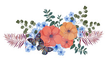 Watercolor Illustration Botanical Collection Butterfly And Blooming Flower Coral Peach Orange Blue Color Foliage Leaves Bouquet