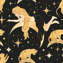 Celestial Blonde Beautiful Woman And Moon Esoteric Golden Seamless Pattern. Boho Astronomy Astrology Lunar Magic Background.