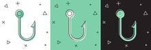 Set Fishing Hook Icon Isolated On White And Green, Black Background. Fishing Tackle. Vector