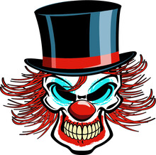 Human Skull Clown With Top Hat