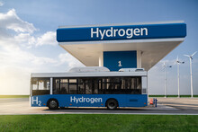 Fuel Cell Bus At The Hydrogen Filling Station. Concept