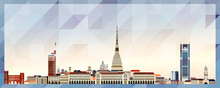 Turin Skyline Vector Colorful Poster On Beautiful Triangular Texture Background