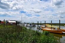 Boat Marina And Dock Background Landscape At Tybee Island, Georgia
