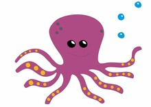 Purple Octopus With Water Bubbles, With Tentacles And Happy Face