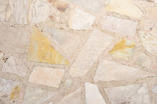 Stone Marble Crap Cover On Terrazzo Flooring. Vintage Texture Old For Background Image Horizontal