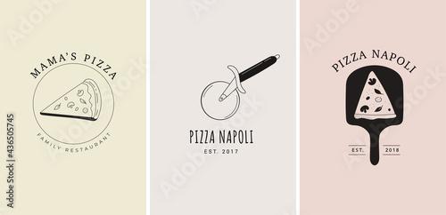 Set of trendy hand drawn Italian pizza logos, elements, illustrations. Arisan pizza concept design