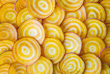 Closeup Of Slices Of Yellow Beets
