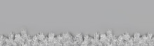 Christmas Banner With Festive Borders Of Fluffy Light Gray Fir Branches On Gray Background. Trendy Monochrome Xmas Template. Top View, Flat Lay Style, Copy Space For Text.