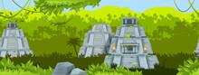 Maya Ancient Pyramid Vector Seamless Background, Jungle Outline Landscape, Mexico Stone Temple. Aztec Old Ruin, Travel Landmark Illustration, Palm Silhouette, Rainforest Liana. Maya Pyramid Banner