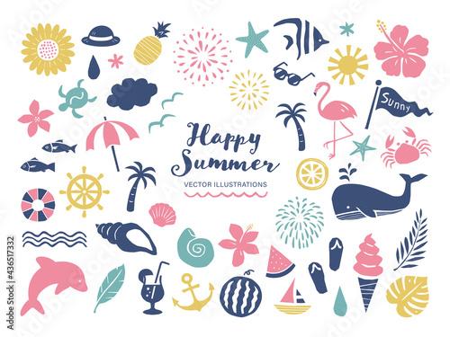 Fényképezés 夏と海のシンプルなベクターイラストセット