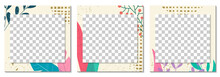 Social Media Post Banner, Cover Or Frame Template. Trendy Floral Background. Modern Layout Design With Leaves And Geometric Elements. Vector Illustration.