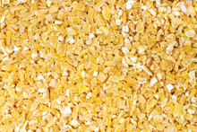 Top View Of Raw Crushed Polished Wheat Grains