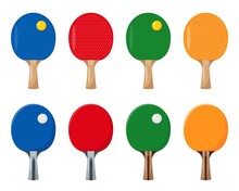 Ping Pong Rackets Or Bats And Balls For Table Tennis.