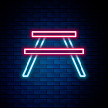 Glowing Neon Line Picnic Table With Benches On Either Side Of The Table Icon Isolated On Brick Wall Background. Colorful Outline Concept. Vector