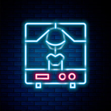 Glowing Neon Line X-ray Machine Icon Isolated On Brick Wall Background. Colorful Outline Concept. Vector