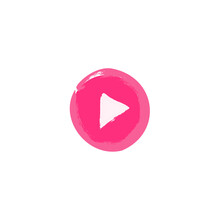 Play Pink Button Sign  Vector Illustration