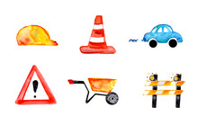 Collection Icons Batiment Building Site Safety Symbol Signage Watercolor Illustration