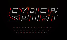 Sport Futuristic Style Font With Sharp Angles And Thin Lines. Outline Letters And Numbers For Game Headline And Logo Design. Linear Italic Font, Cyber Sport Font Set. Contour Scifi Vector Typography