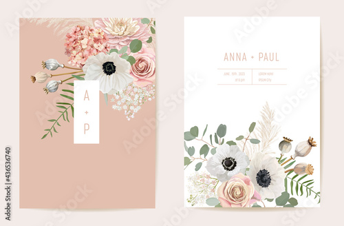Photographie Watercolor anemone, pampas grass, rose floral wedding card