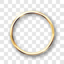 Golden Circle Frame Isolated. Template Gold Ring For Photo, Picture Or Mirror With 3d Shining Effect