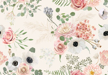 Watercolor Seamless Anemone, Rose Flower, Eucalyptus Leaves, Pampas Grass Vector Background