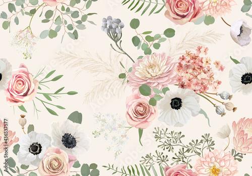 Tapety Boho   akwarela-bezszwowe-zawilec-kwiat-rozy-liscie-eukaliptusa-tlo-wektor-trawa-pampasow