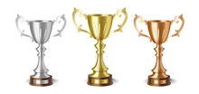 Golden Silver And Bronze Cup Awards, Champion Winner Trophy Prizes Set, Realistic 3D Design