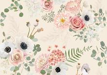Rustic Dried Flowers Pattern. Watercolor Seamless Anemone, Rose Flower, Eucalyptus Leaves, Pampas