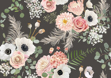Rustic Dried Flowers Pattern. Watercolor Anemone, Rose Flower, Eucalyptus Leaves, Pampas Grass Vector Seamless