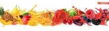 Fruit And Berries Burst. Splash Of Juice 3d Realistic